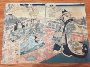 ※浮世绘※古董级*歌川国贞※两连绘※百年套色木刻版画※