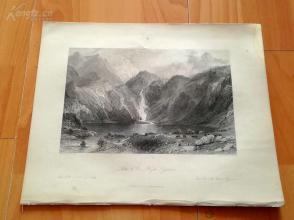 1841年钢版画《比利牛斯山区的湖水》(Lake dOo, Pyrenees)—奥罗姆笔下的法国历史--27*20.5厘米---精美,漂亮,高质量(z)