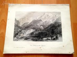 1841年钢版画《比利牛斯山区小镇,奥博内》(Eaux Bonnes, in the Pyrenees)—奥罗姆笔下的法国历史--27*20.5厘米---精美,漂亮,高质量(z)