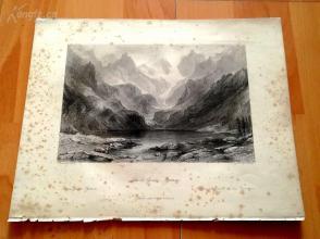 1841年钢版画《高勃湖,比利牛斯山》(Lac de Gaube, Pyrenees)—奥罗姆画笔下的十九世纪法国--27*20.5厘米---精美,漂亮,高质量(2)(z)