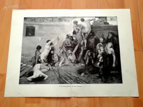 1890年木刻版画《古罗马斗兽场一幕》(In der Arena)---58*40.5厘米--木刻艺术欣赏(20)(z2)