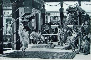 """1886年意大利艺术系列凹版蚀版画《古罗马人的晚宴》—意大利画家""""G.SCIUTI""""作品 42x29cm"""