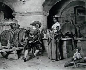 """1886年意大利艺术系列凹版蚀版画《拉伯雷的一刻钟》—意大利画家""""Tito Conti""""作品 42x29cm"""