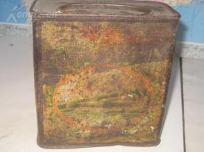 民国开始百年茶庄----【泰记号茶庄】铁质茶叶桶一个,绿树美景、北京北海风景图案等等,稀见!!