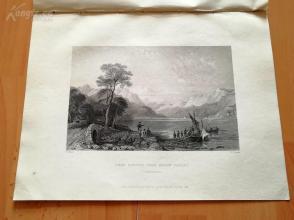 19世纪钢版画《洛蒙德湖,邓巴顿郡》(LOCH LOMOND FROM BELOW TARBET)--27.5*20.5厘米(z)