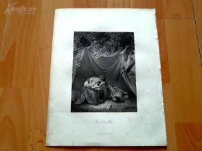 1840年钢版画《士兵的遗孀》(THE SOLDIERS WIDOW)--27*21厘米---精美,漂亮,高质量(2)(z)