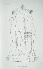 1876年线刻版画《美惠三女神(背面)》—意大利古典主义雕塑家安东尼·卡诺瓦(Antonio Canova1757 - 1818)作品  尺寸:27x20cm