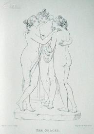 1876年线刻版画《美惠三女神(正面)》—意大利古典主义雕塑家安东尼·卡诺瓦(Antonio Canova1757 - 1818)作品  尺寸:27x20cm