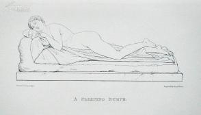 1876年线刻版画《睡觉的女神》—意大利古典主义雕塑家安东尼·卡诺瓦(Antonio Canova1757 - 1818)作品  尺寸:27x20cm