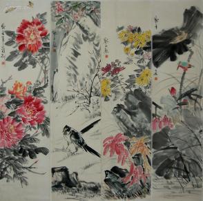 【金默茹】北京人  中国美术家协会会员 国家建设部美协副主席 花卉 四屏