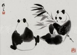 """精制木版水印 吴作人画作""""双熊戏叶图""""一幅 (纸本镜芯绫裱;画芯尺寸:32*36cm)HXTX106651"""