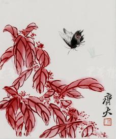 """精制木版水印 齐白石画作""""红叶蝶飞图"""" 一幅(纸本镜芯绫裱;画芯尺寸:28*32cm)HXTX106660"""