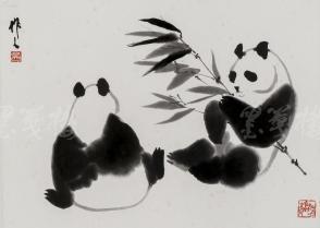 """精制木版水印 吴作人画作""""双熊戏叶图"""" 一幅(纸本镜芯绫裱;画芯尺寸:32*36cm)HXTX106654"""