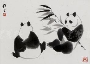 """精制木版水印 吴作人画作""""双熊戏叶图"""" 一幅(纸本镜芯绫裱;画芯尺寸:32*36cm)HXTX106649"""