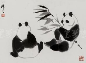 """精制木版水印 吴作人画作""""双熊戏叶图"""" 一幅(纸本镜芯绫裱;画芯尺寸:32*36cm)HXTX106650"""
