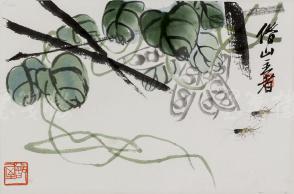 """朵云轩精制木版水印 齐白石画作""""蝈蝈戏耍图"""" 一幅(纸本镜芯纸裱;画芯尺寸:23*35cm)HXTX106648"""