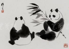 """精制木版水印 吴作人画作""""双熊戏叶图""""一幅 (纸本镜芯绫裱;画芯尺寸:32*36cm)HXTX106653"""