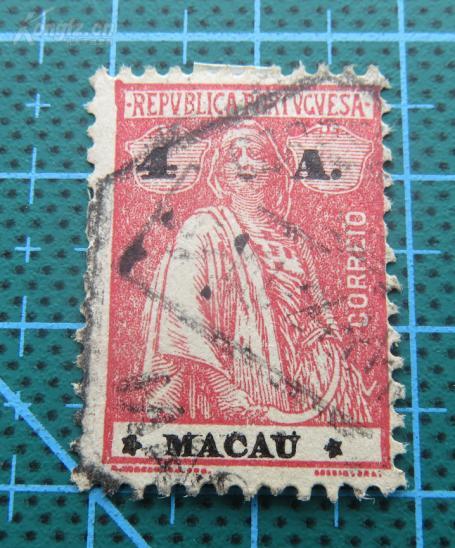 民国澳门邮票(MACAU)--葡萄牙发行五谷女神图---面值4A邮票
