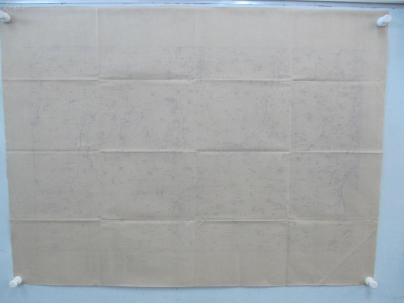 民国1922年晒蓝水利图纸一张-含冯圈九圣庙、黑刘村东南、沙河铺东南、张庄东北等地  顺直水利委员会测量处  整体尺寸103/76厘米 14