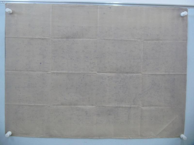 民国1922年晒蓝水利图纸一张-含李庄西南角、西木堤西南、朱庄北等地  顺直水利委员会测量处  整体尺寸103/76厘米 12