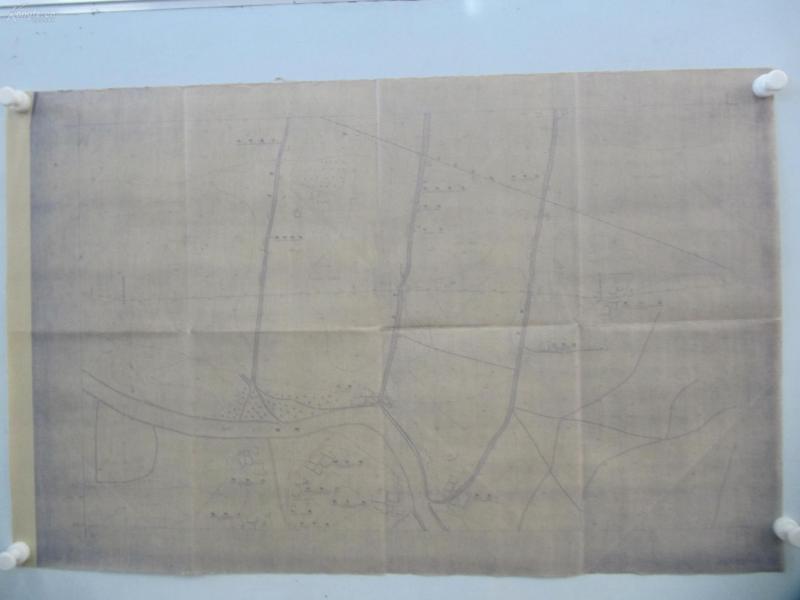 民国1941年晒蓝水利图纸一张-漳河上游地形图  建设总署水利局  民国17年12月华北水利委员会实测,民国30年6月天津测模所监制 整体尺寸87/55厘米 33