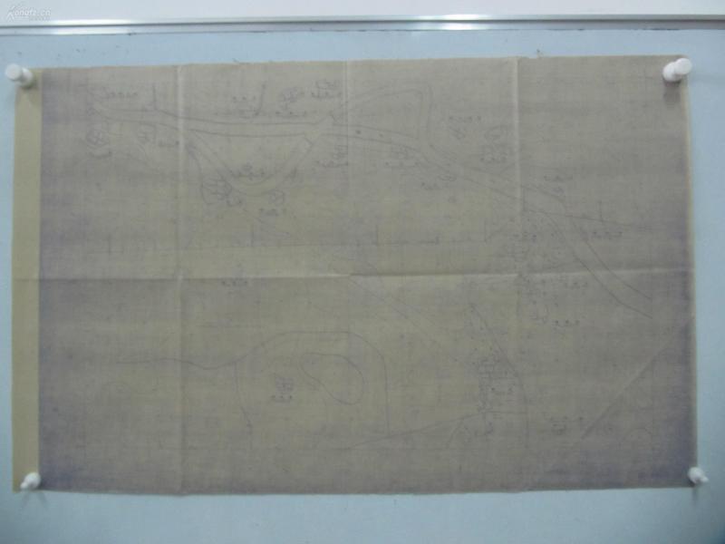 民国1941年晒蓝水利图纸一张-漳河上游地形图  建设总署水利局  民国17年12月华北水利委员会实测,民国30年6月天津测模所监制 整体尺寸87/55厘米 39