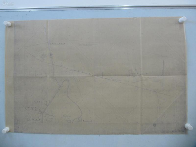 民国1941年晒蓝水利图纸一张-漳河上游地形图  建设总署水利局  民国17年12月华北水利委员会实测,民国30年6月天津测模所监制 整体尺寸87/55厘米 34
