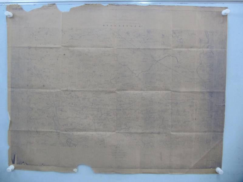 民国1922年晒蓝水利图纸一张-含北赵庄、大北庄、信东庄等地  顺直水利委员会测量处  整体尺寸102/79厘米 17