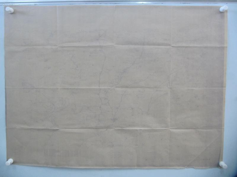 民国1921年晒蓝水利图纸一张-含尹庄、王家桥、倚岸庄等地  顺直水利委员会测量处  整体尺寸103/75厘米 27
