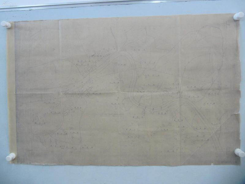 民国1941年晒蓝水利图纸一张-漳河上游地形图  建设总署水利局  民国17年12月华北水利委员会实测,民国30年6月天津测模所监制 整体尺寸87/55厘米 29