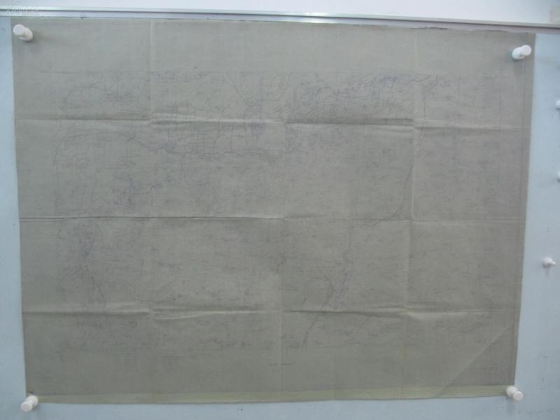 民国1922年晒蓝水利图纸一张-含肥乡县城东南、后营堡西北、东漳堡南等地  顺直水利委员会测量处  整体尺寸103/76厘米 13