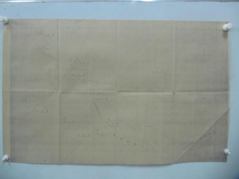 民国1941年晒蓝水利图纸一张-漳河上游地形图  津浦 京山天津交界地区 建设总署水利局  民国17年12月华北水利委员会实测,民国30年6月天津测模所监制 整体尺寸87/55厘米 90