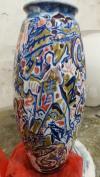 原圆明园画家村村长、中国第一代独立艺术家 伊灵 2018年作釉下五彩瓷瓶《音乐》一件附证书(作品得自于艺术家本人,直径:30cm,高37cm) HXTX108682
