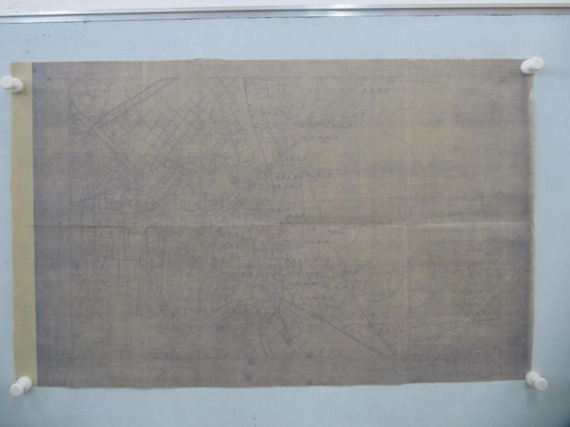 民国1941年晒蓝水利图纸一张-漳河上游地形图  建设总署水利局  民国17年12月华北水利委员会实测,民国30年6月天津测模所监制 整体尺寸87/55厘米 83