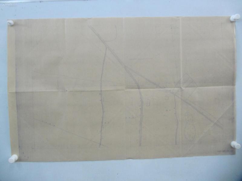民国1941年晒蓝水利图纸一张-漳河上游地形图  建设总署水利局  民国17年12月华北水利委员会实测,民国30年6月天津测模所监制 整体尺寸87/55厘米 87