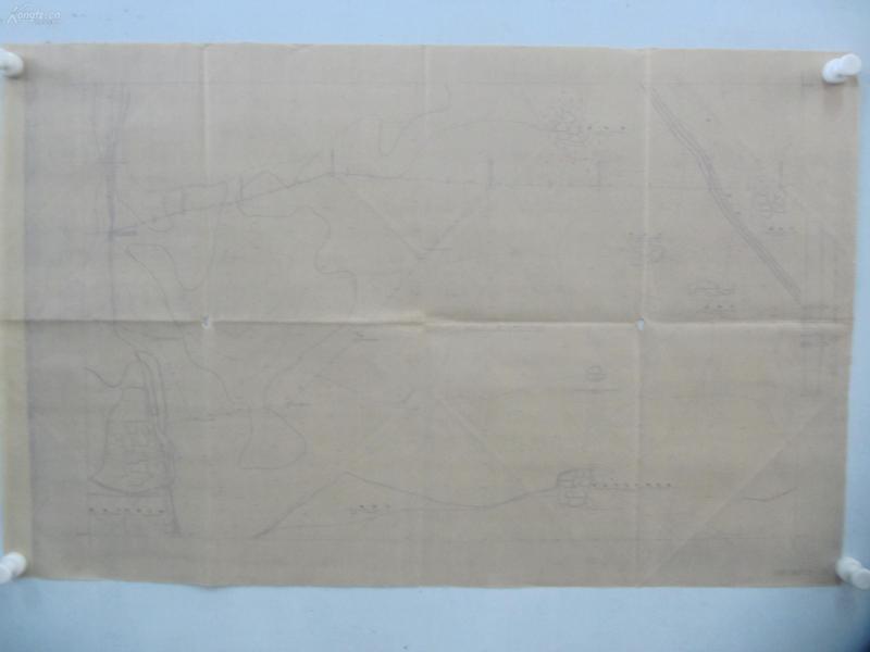 民国1941年晒蓝水利图纸一张-漳河上游地形图  建设总署水利局  民国17年12月华北水利委员会实测,民国30年6月天津测模所监制 整体尺寸87/55厘米 85