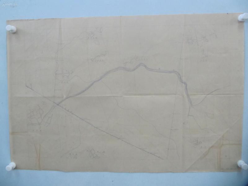 民国1941年晒蓝水利图纸一张-漳河上游地形图  建设总署水利局  民国17年12月华北水利委员会实测,民国30年6月天津测模所监制 整体尺寸87/55厘米 79