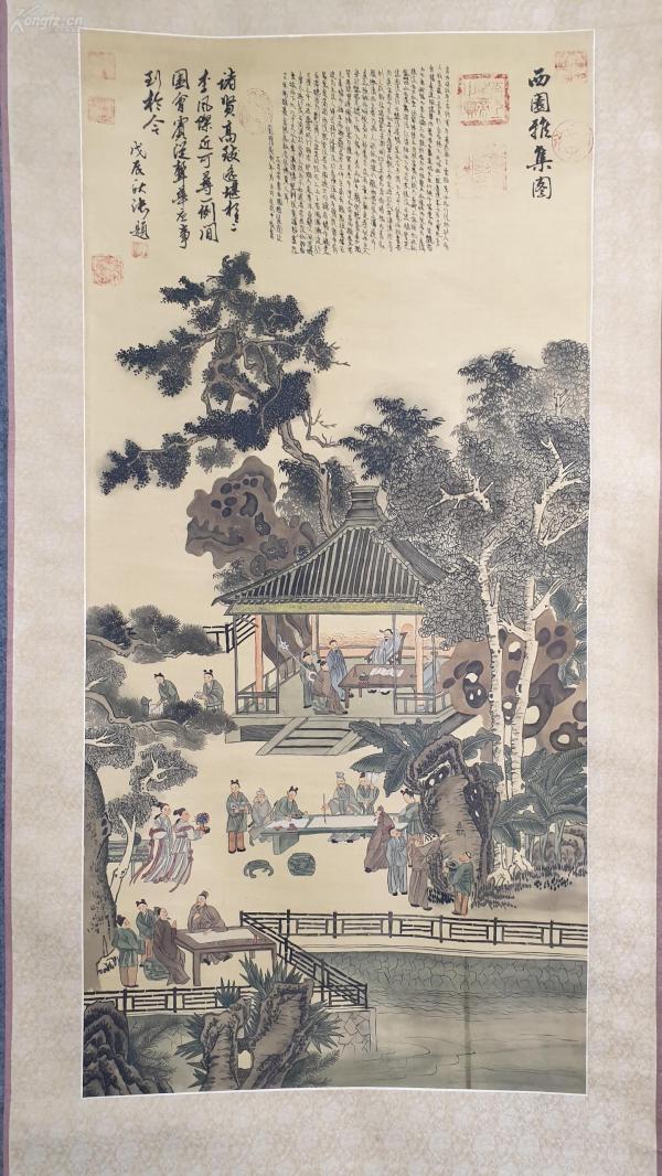 23729  瓷质轴头绢本现代仿古《西园雅集图》