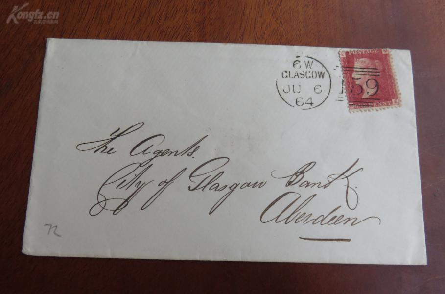 英国2019年08月18日格拉斯哥(Glasgow)寄阿伯�。ˋberdeen)--红便士实寄封