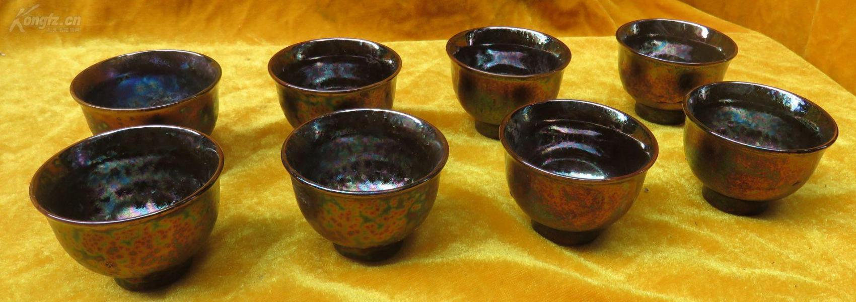窑变缤纷色彩陶瓷杯子8个19032308