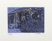 著名版画家、 中国工业版画研究院研究员 宋佳林 2012年亲笔签名 北京风情系列藏书票《北京街景》一幅(所售编号:101-120,版号随机,限量500版,作品得自于艺术家本人!)HXTX109236