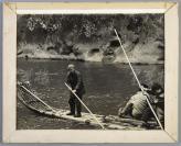 南方竹筏风景老照片一张 附纸质相框 HXTX111556