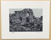著名版畫家、株洲市美協主席 洪濤 2012年親筆簽名 北京風情系列藏書票《圓明園》一幅(所售編號:101-120,版號隨機,限量500版,作品得自于藝術家本人!) HXTX109167