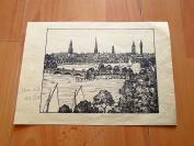 1899年平版印刷《穿过城市的河流》(Fluss durch die Stadt)--纸张尺寸22.5*16厘米