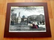 19世纪木刻《柏林的新皇宫》(THE NEW PALACE OFTHE PRINCE...)----卡纸画框,手工上色,28.5*23.5厘米