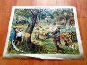 19世纪套色木刻版画《开采森林》(Der Wald und seine Ausnutzung)---版画纸张尺寸39.5*31.5厘米