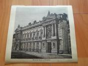 19世纪木刻《布鲁塞尔国家银行大楼》(National Bank of Brussels)----手工润色--版画纸张尺寸19.8*17.8厘米