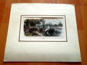 19世纪木刻版画《在曼海姆》(Bei Mannheim)----卡纸画框,手工上色,32*28厘米