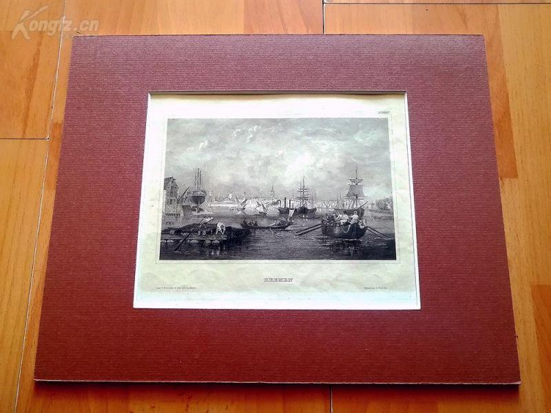 19世纪钢版画《不莱梅景观》(BREMENN)--卡纸画框,30*24厘米