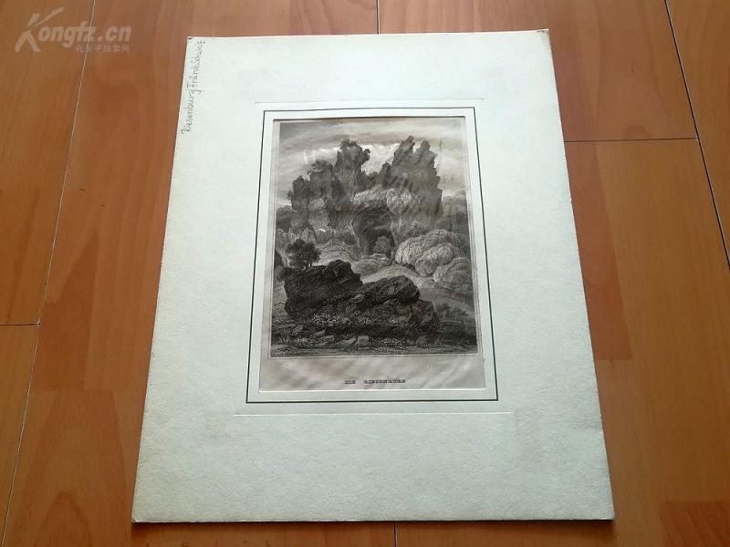 19世纪钢版画《里森堡洞穴,瑞士》(DIE RIESENBURG)--卡纸画框,30*24厘米